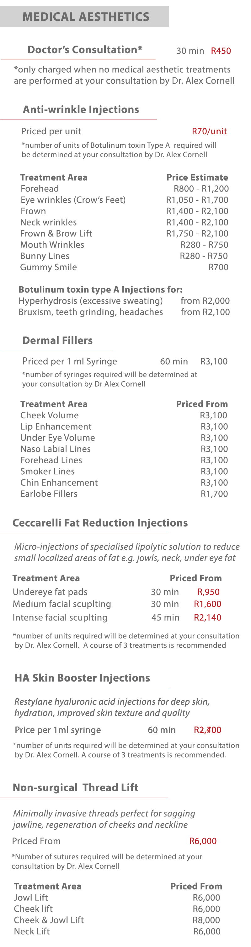 2018 medical aesthetics price list